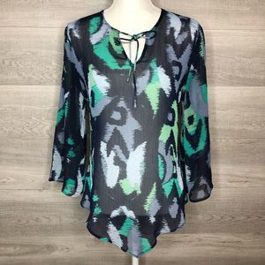 Banana Republic Sheer Top Blue Green Medium